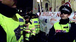 Police push the crowds back - Occupy London