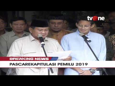 BREAKING NEWS!! Tanggapan dan Sikap Prabowo-Sandi: Tolak Hasil Rekapitulasi Pemilu