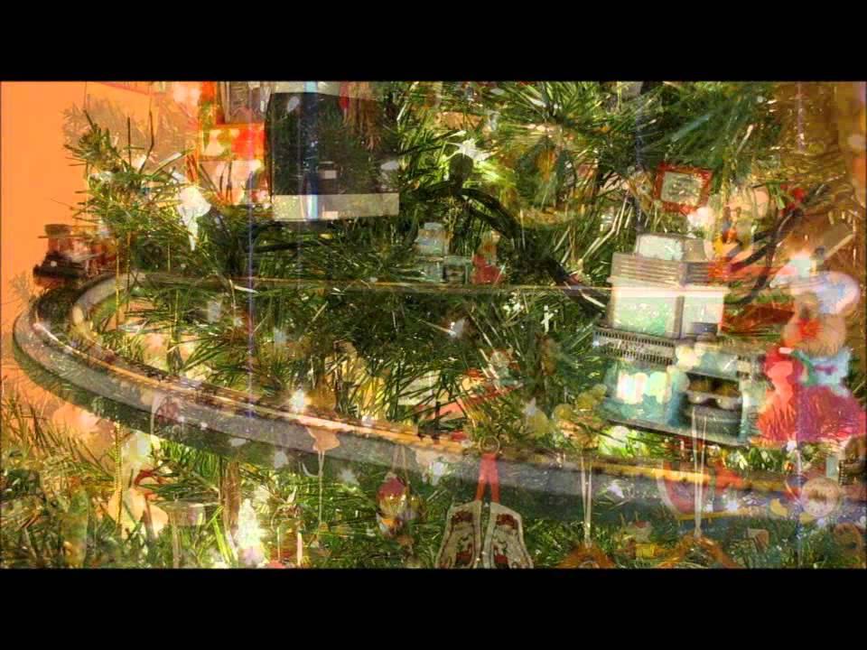 Christmas Tree With Three Trains