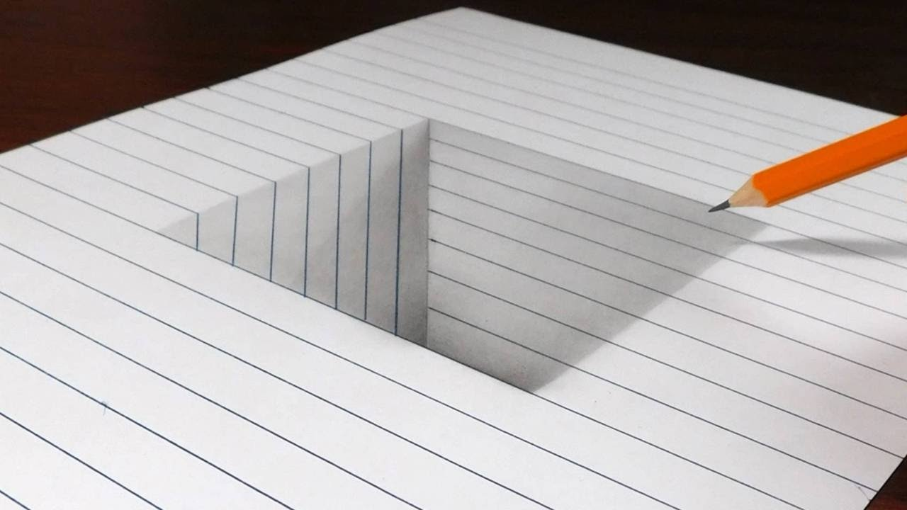 Drawing Lines In Office : How to draw a square hole in line paper d trick art youtube