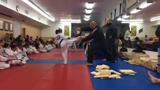 Blue belt spinning hook kick wood breaking