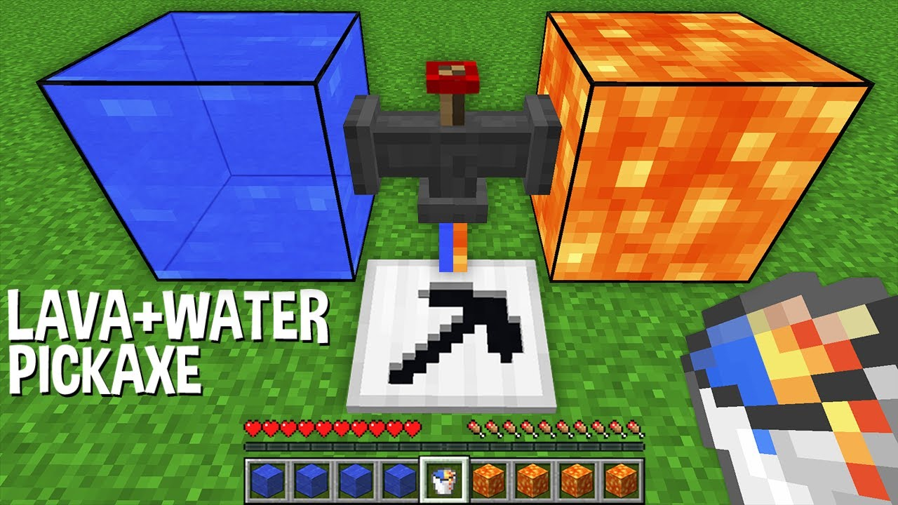 What if create NEW PICKAXE with LAVA+WATER LIQUID in Minecraft ?