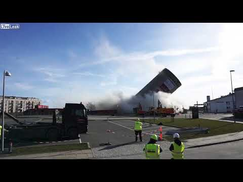 Liveleak   Silo Demolition Gone Wrong Silo Goes Down The Wrong Way.. Amateurs