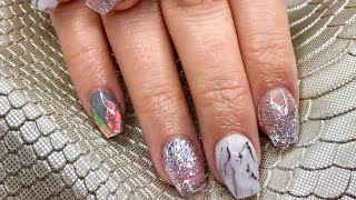 Silver and White Marble Design   Picture Recreation   Acrylic Nail Tutorial