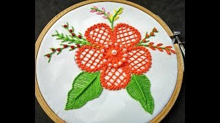 Hand Embroidery - Flower Embroidery   Raised chain Stitch Band   Fantasy Flower Embroidery Designs