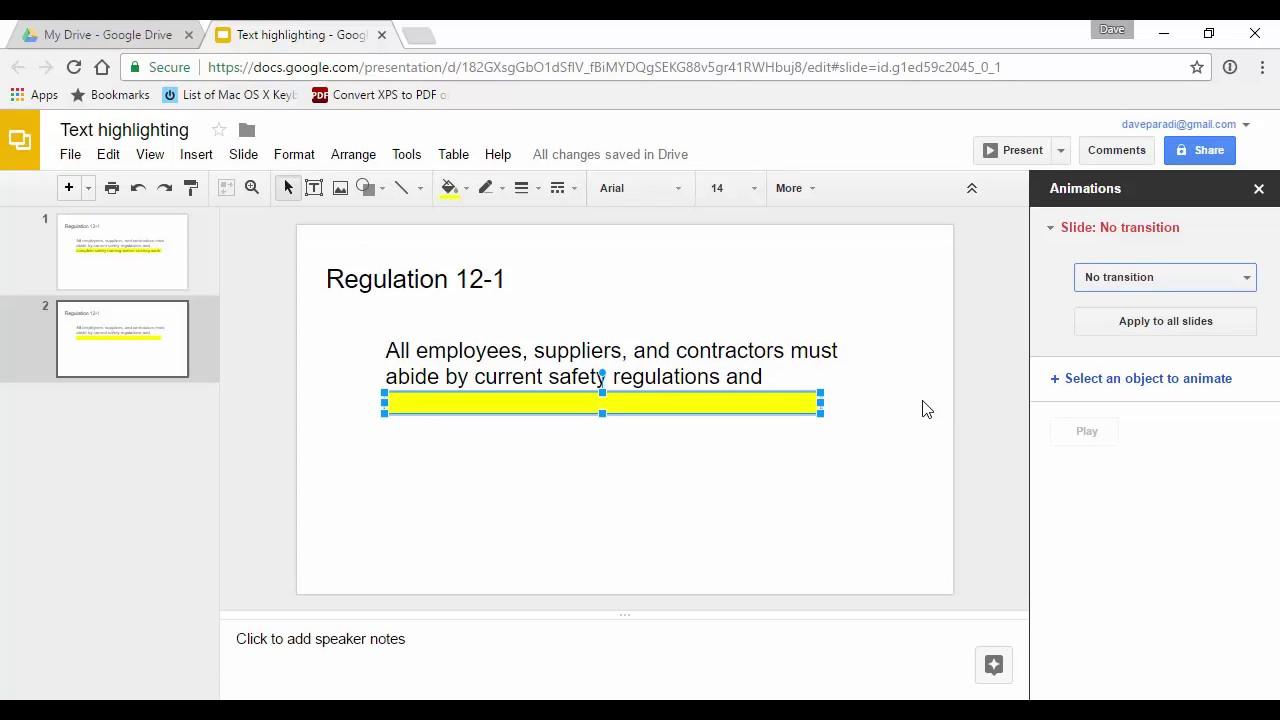highlighting text effective presentation visuals using google