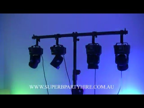 Moving Head LED Disco Lights (4 Lights Plus Lighting Stand) - Superb Party Hire, Brisbane