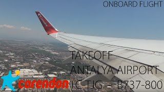 ✈ Corendon Airlines   TC-TJG   B737-800   Takeoff Antalya Airport   Full HD(Taxi and takeoff with beautiful view and 180 degree turn, from Antalya International Airport (LTAI/AYT) for a 3 hours 40 minutes flight to Amsterdam Airport ..., 2015-07-12T10:13:39.000Z)