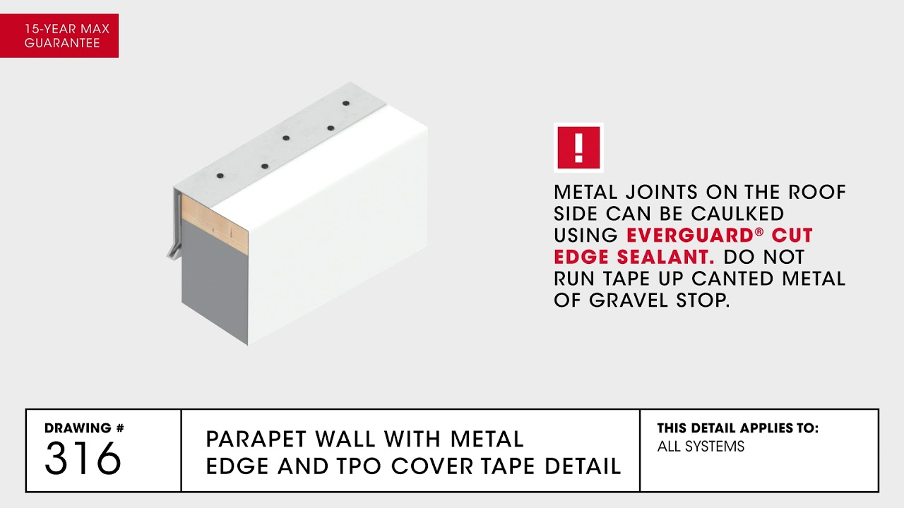 Parapet Wall With Metal Edge And Tpo Cover Tape Detail
