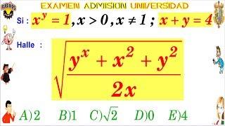 Examen Admisión a la Universidad SAN MARCOS DECO Exponentes Razonamiento Algebraico Solucionario