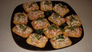 Сырно-крабовая закуска на крекерах