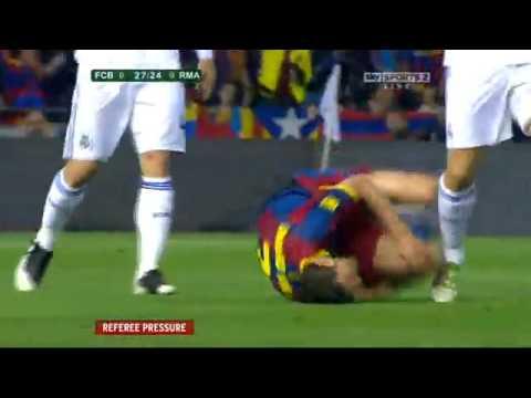 David Villa's fake broken leg in the 2011 Copa del Rey Real Madrid vs Barcelona   YouTube