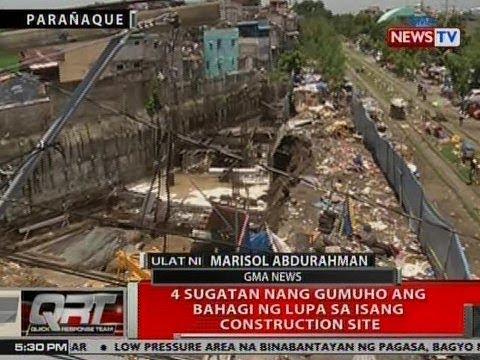 QRT: 4 sugatan nang gumuho ang bahagi ng lupa sa isang construction site sa Parañaque