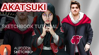 MEMBUAT ILLUSTRASI JUBAH AKATSUKI [TUTORIAL] | AUTODESK SKETCHBOOK