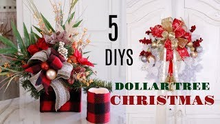 🎄5 DIY DOLLAR TREE CHRISTMAS CRAFTS 🎄 WREATH, CENTERPIECE, CANDLE