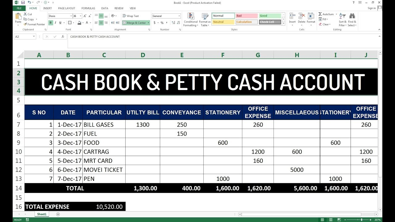 85 how to make cash book petty cash account maintain in excel