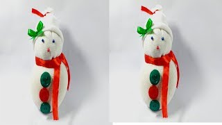 Cover images DIY:Snowman   Making easy socks sonoman     Christmas & New Year decor ideas