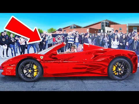 Picking Up Little Brother From High School In Ferrari
