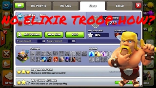 A PERSON WITH NO ELIXIR TROOPS! EVEN BARBARIANS!!CLASH OF CLANS