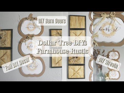 DOLLAR TREE DIYS | FARMHOUSE FALL DECOR | DIY BARN DOORS