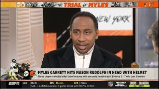 FIRST TAKE   Stephen A. REACT to Myles Garett hits Mason Rudolph in head with helmet in CLE def. PIT