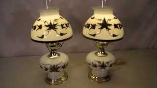 1950's Pair Of Glass Gone With The Wind Hurricane Lamps W/ Gold Leaf Flower Design & Glass Chimney