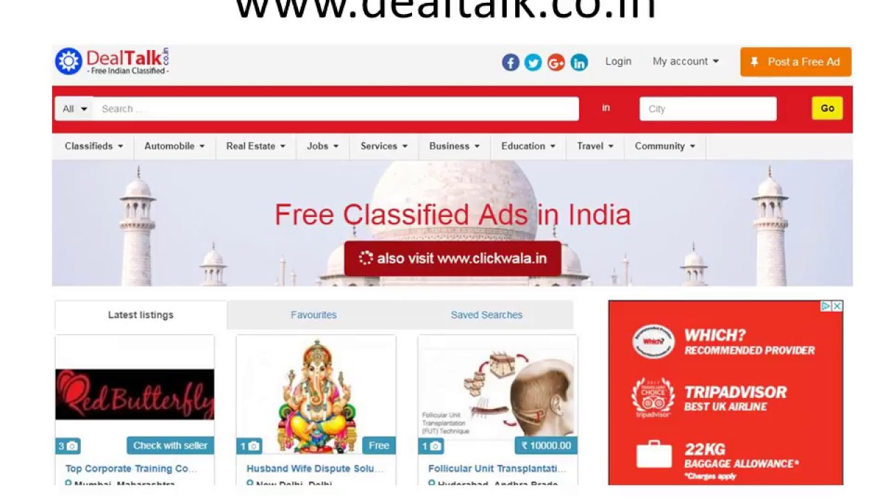 India Classifieds   Post free classified Ads in India - www dealtalk co in