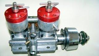 2 cylinder diesel taplin twin 15cc running vintage rc engine not nitro or glow