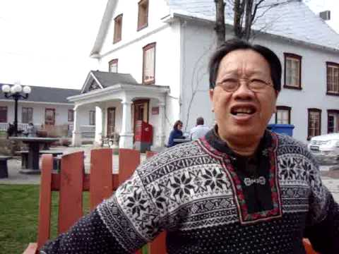 TRAN QUANG HAI sings overtones at the Shop of Chocolate in Isle of Orleans, Quebec city, Canada