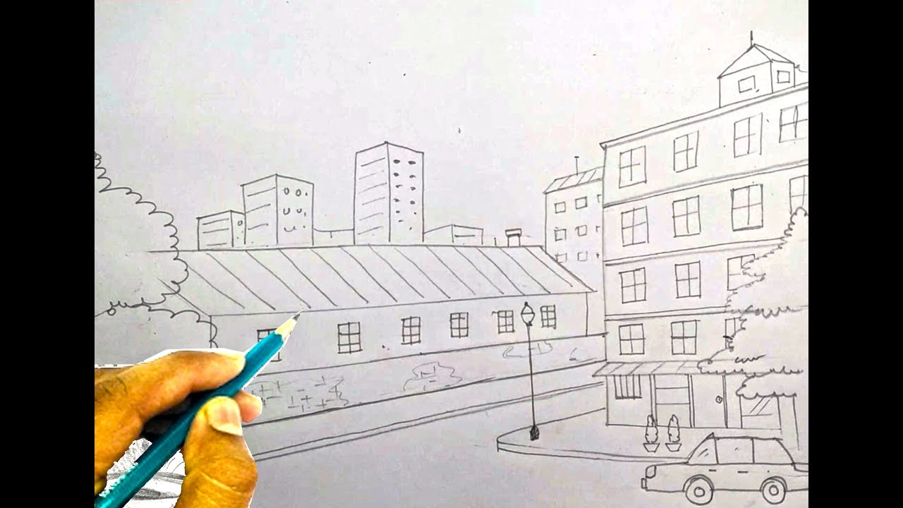 How To Draw City Scene Step By Step Very Easy Easy Drawing