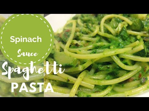 Creamy Spinach Sauce Pasta | Spaghetti in Spinach Sauce with mushrooms | Healthy Pasta Recipe