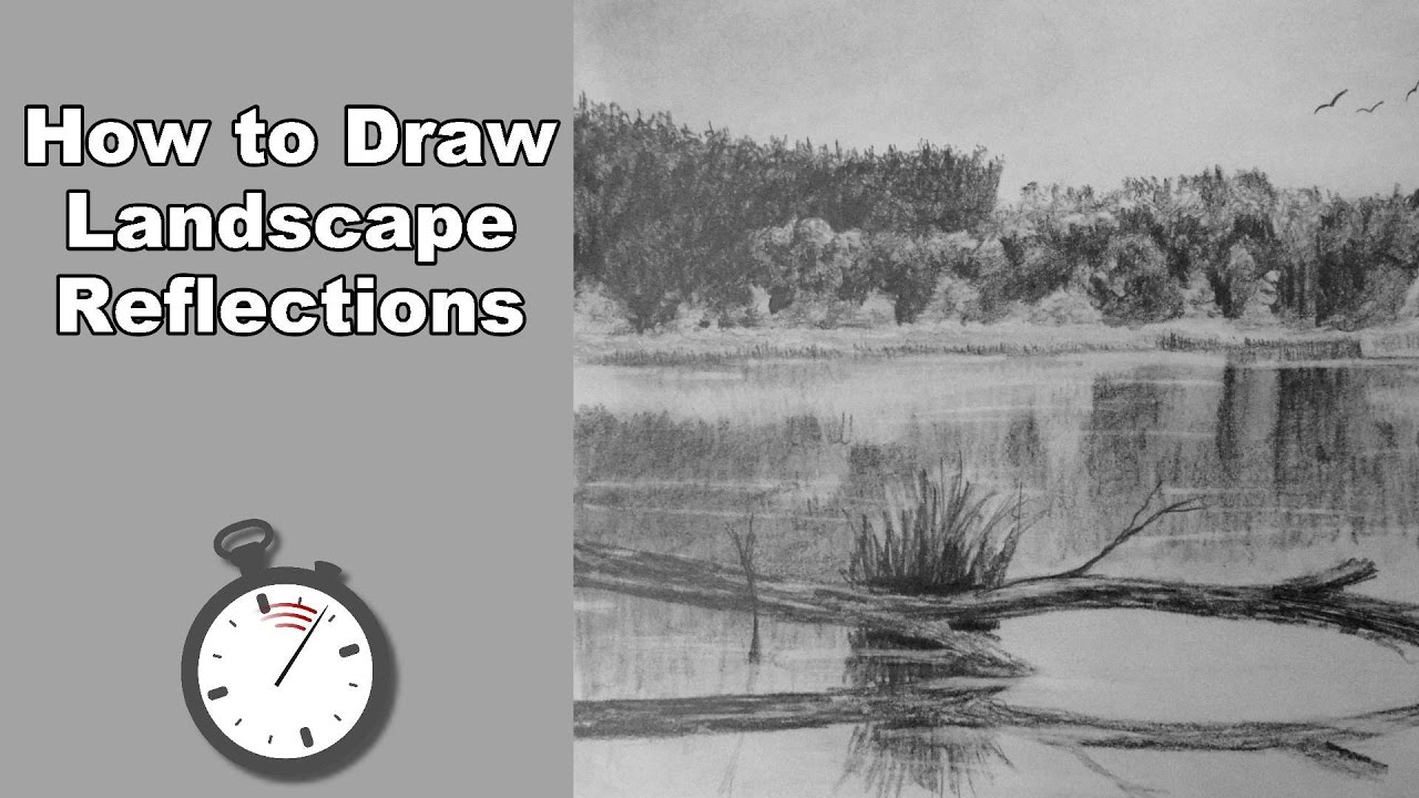 How to draw a landscape with water reflections in pencil time lapse drawing tutorial