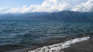 Южный Иссык-Куль Киргизия(Озеро Иссык-Куль огромно, 182 км длинной, ширина - 65 км, глубина - 702 м. Видео снято на побережье, в 5 км. от Долины..., 2011-10-01T17:48:18.000Z)