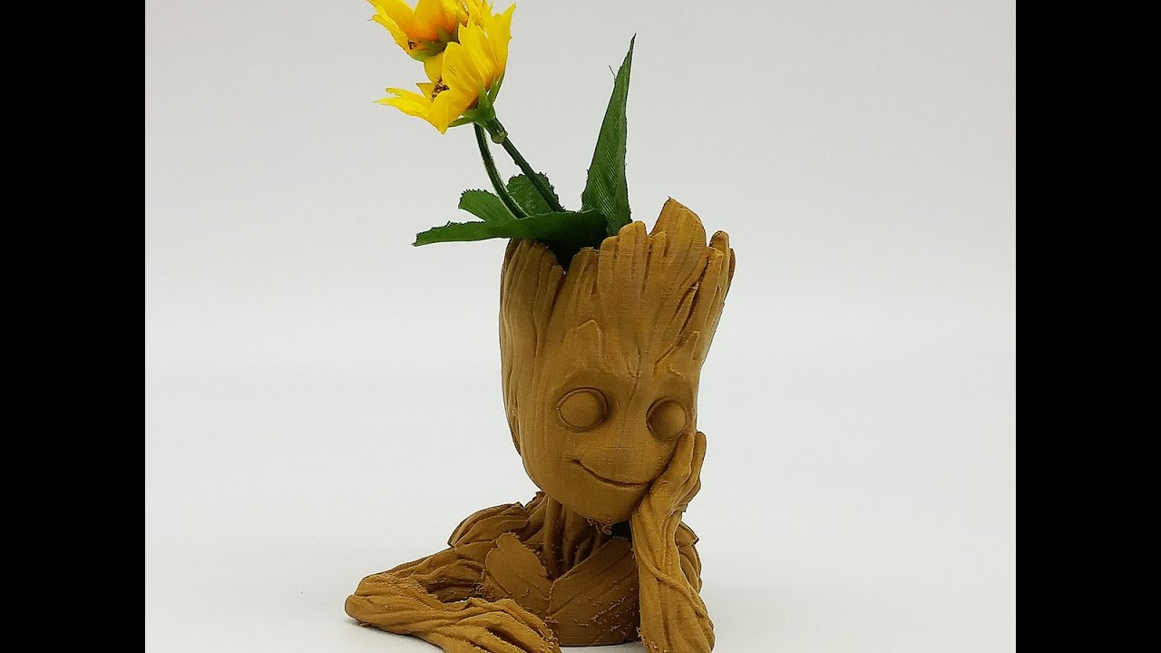 3d print baby groot flower pot in the film of guardian of galaxy 2