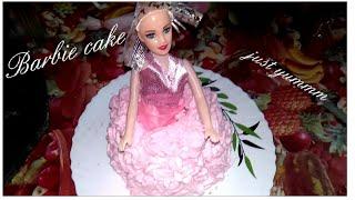 How to make Barbie cake at home?|No microwave no oven recipe|easy recipe.#Barbiebirthdaycake