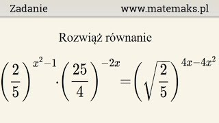 Równanie wykładnicze - przykład 9