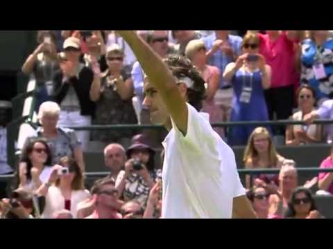Federer celebrates win over Robredo - Wimbledon 2014