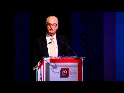 Lord Tim Bell, Chairman, Chime Communications (Bell Pottinger) speaks at the PRWC