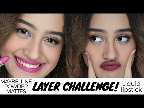50 Layers of Maybelline Powder Mattes vs Liquid Lipstick + Review & Swatches   Indonesia