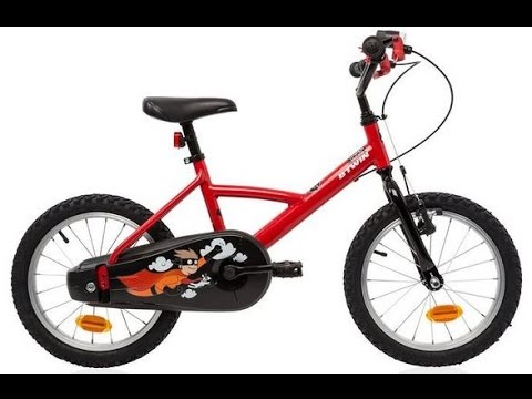 decathlon b 39 twin 16 inch bike red and helmet youtube. Black Bedroom Furniture Sets. Home Design Ideas