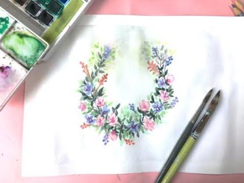 Easy Watercolor Flower Circle | Circular Flower Frame | In Hindi & English | Art Blues