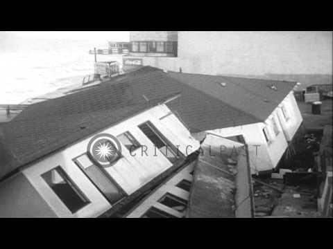Wreckage Along The Ocean Due To A Severe Storm At Redondo Beach, California. HD Stock Footage