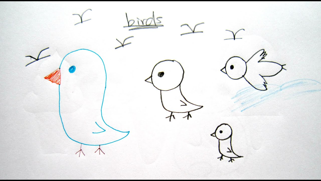 how to draw cartoon birds 畫卡通鳥 easy drawing tutorial for