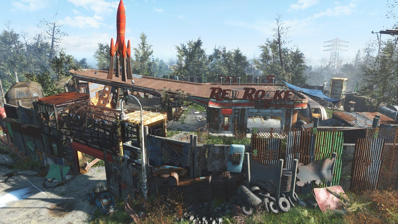 Fallout 4 - Red Rocket Settlement Build - YouTube