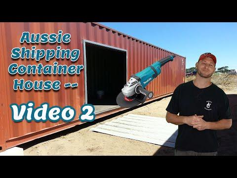 Australian Shipping Container Build – video 2 – Windows & Doors