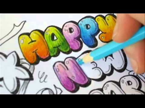 Graffiti Letters – How To Color Bubble Letters – Happy new year
