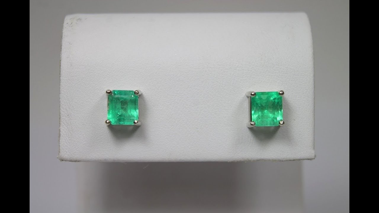 White Gold Genuine Muzo Emerald Stud Earrings Colombian Emeralds 2 15tcw
