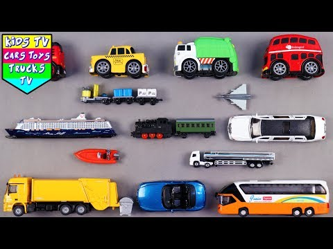 Learn City vehicles For Kids Children Babies Toddlers   Fire Engine Bus Taxi   Kids TV Learning