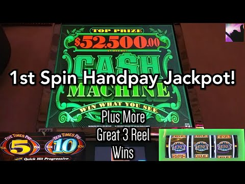 HANDPAY JACKPOT on My First Spin Ever on High Limit Cash Machine!  Plus 3 Reel Hit and Run Winners!