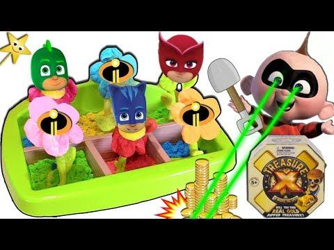 The Incredibles 2 vs PJ Masks MAGIC GARDEN GAME w/ Treasure X Gold Surprise Toys